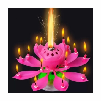 SNS Musical Lotus Flower Rotating Birthday Candle Light (Pink) Price Philippines