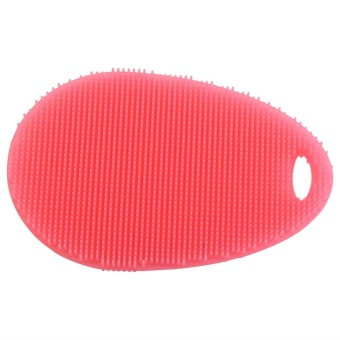 Soft Silicone Dishes Washing Cleaning Brush Kitchen Home Scrubber Wash Tool(Red) - intl