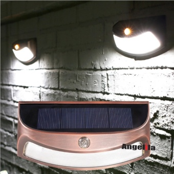 Solar Powered Outdoor LED Wall Light Step Stair Garden Patio Doorway Outside White Flood Light Spot Lamp Waterproof - intl