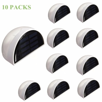 Solar Powered Wall Sensor Light Accent Lighting Waterproof 6 LED Practical Acent Lighting 10 Packs Warm White - intl