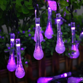 Solar String Lights, 15.7ft 8 Light Modes 20 LED Water Drop Fairy String Lighting for Indoor/Outdoor Home, Patio, Lawn, Garden, Party, Christmas, and Holiday Decorations (Purple) - intl - 4