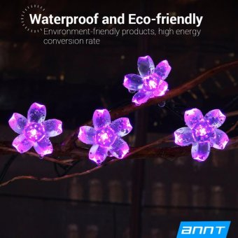 Solar String Lights Outdoor Indoor Flower Shape Lighting 7m 23ft 50Led Fairy Blossom Flower Light Decorative Holiday Party Garden HomeWedding Light (Purple) - intl - 2