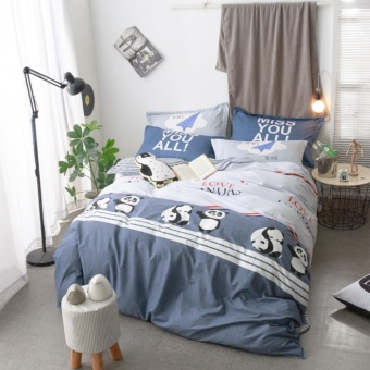 Solid color navy Panda printing style 100 % Cotton Bedding set 4pcsKing size bedsheet pillowcase duvet cover bed set - intl