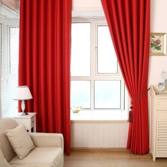 Solid Color Shade Window Kitchen Bathroom Curtain Door DividerSheer Panel Drapes Scarf Curtain(Red) - intl