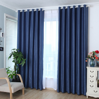 Solid Grommet Window Curtain Foam Lined blackout thermal treatmentBlue Price Philippines