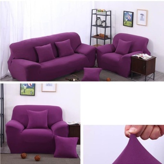 Solid Stretch Sectional Sofa Soft Slipcovers Elastic Couch CoverFor Two Seats - intl