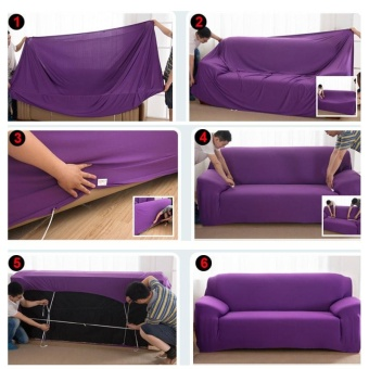 Solid Stretch Sofa Covers Tight Wrap Soft Slipcovers Elastic CouchCover For Double Seats - intl