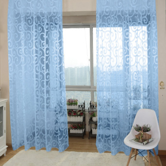 Solid Sweet Floral Tulle Voile Door Window Curtains Blue