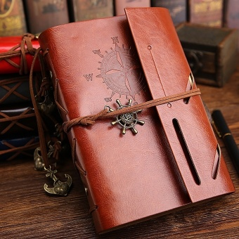 Spiral Notebook Diary Notepad Vintage Anchors PU Leather Note BookReplaceable Stationery Gift Traveler Journal - intl