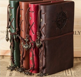 Spiral NoteBook Newest Diary Book Vintage Pirate Anchors PU leatherNote Book Replaceable Xmas Gift Traveler Journal(Red) - intl