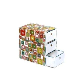 Squares Portable Storage Drawer Set of 3 (White)