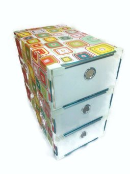 Squares Portable Storage Drawer Set of 3 (White) - picture 2