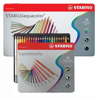 STABILO Aquacolor in Metal Box 36S plus STABILO Carbothello 24S Colored Pencil in Metal Box
