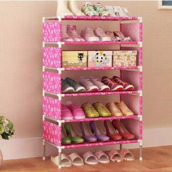 Stackable 6-Layer Shoe Rack (Pink candy)