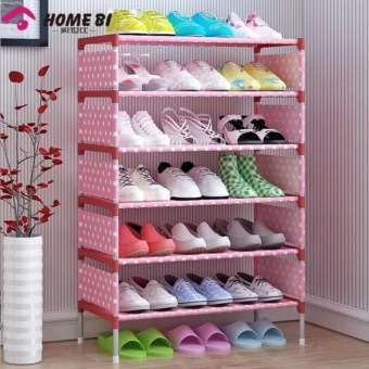 Stackable 6-Layer Shoe Rack (Pink Dot)