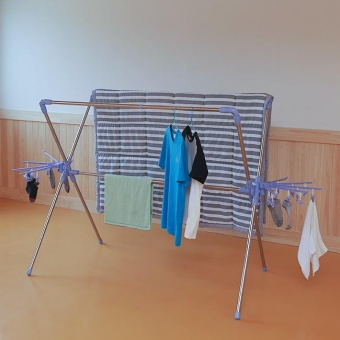 Stainless drying rack for clothes and beds / Fordable AssembleLaundry - intl