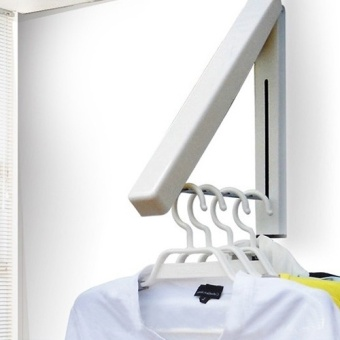 Stainless Folding Wall Hanger Mount Retractable Clothes Foldabel Hangers - intl - 3