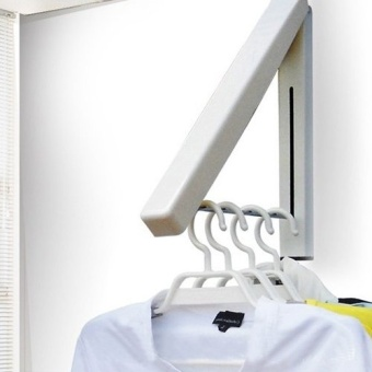 Stainless Folding Wall Hanger Mount Retractable Clothes Foldabel Hangers - intl - 4