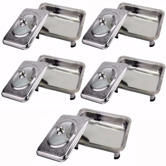 Stainless Food Warmer Tray With Pattern Design Cover Set of 5