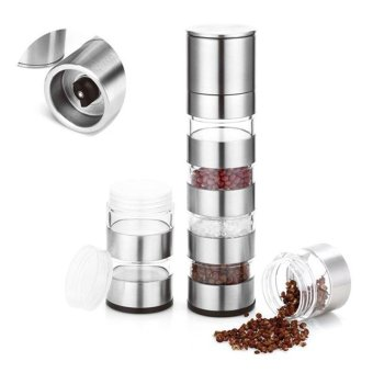 Stainless Steel 4 Jar Pepper Grinder Peppercorn Shaker Set - intl
