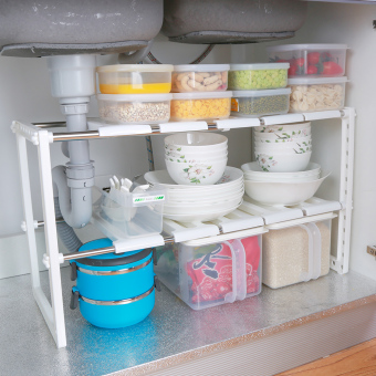 Stainless steel can be retractable under sink rack