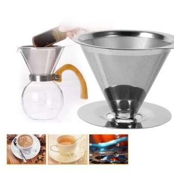 Stainless Steel Coffee Filters / Reusable V-Type Filter CupFiltercone Filter Drip Coffee Maker Tool Sets For Home &Amp;Ofiice - intl