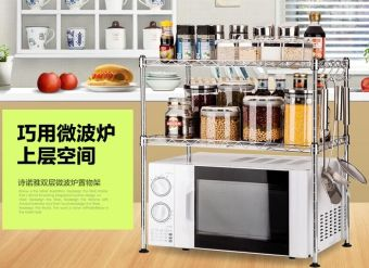 Stainless steel color microwave oven rack kitchen shelf