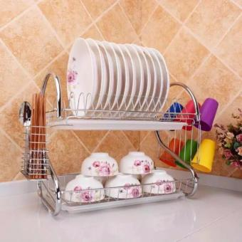 Stainless Steel Dish Rack 2 Tier - Space Saver Dish Drainer Drying older Sliver