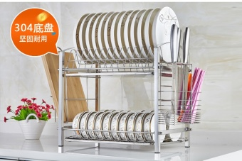 Stainless steel double layer storage dishes drain rack kitchen utensils