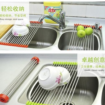 Stainless steel foldable drain rack sink rack