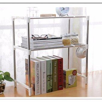 Stainless Steel Microwave Oven Rack Multi-function Kitchen ShelvesShelf Storage Rack Adjustable with Side Hook - 5