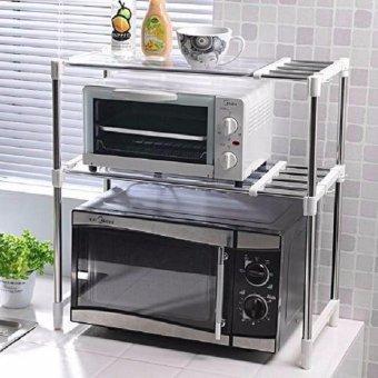 Stainless Steel Microwave Oven Rack Multi-function Kitchen ShelvesShelf Storage Rack Adjustable with Side Hook - 2