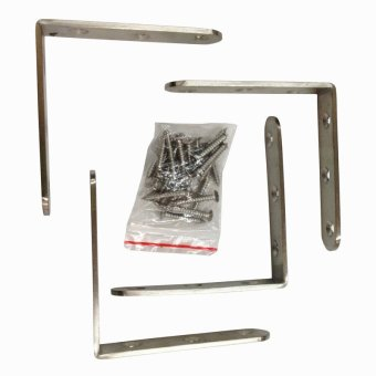 Stainless Steel Right Angle L Shape Brackets Silver 80x80mm