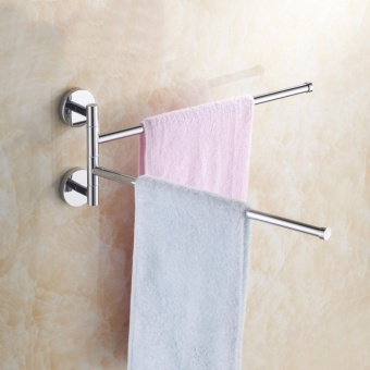 Stainless Steel Wall Mount Swing Out Towel Bar 2-Bar Folding ArmSwivel Hanger Towel Rack Hanger Holder Organizer - intl