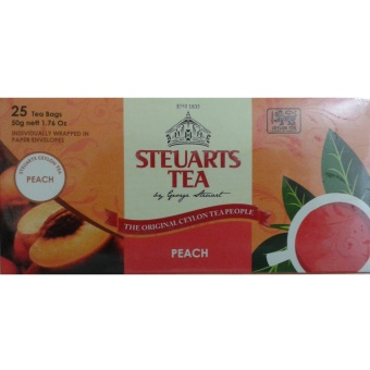 Steuarts Tea PEACH flavor 25 tea bags individually wrapped