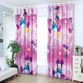 StevenShop 2pcs Animated Cotton Curtain Minnie Mouse Design Price Philippines