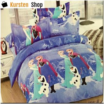 StevenShop 4in1 Bedsheet POLY COTTON Elsa & Anna Design(2 pcs pillow case , 1pcs fitted and 1pcs bedsheet)QUEEN
