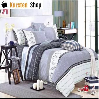 StevenShop 4in1 Bedsheet POLY COTTON Grey Design(2 pcs pillow case , 1pcs fitted and 1pcs bedsheet)KING