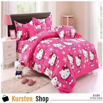 StevenShop 4in1 Bedsheet POLY COTTON HELL0 Kitty STAR Design(2 pcs pillow case , 1pcs fitted and 1pcs bedsheet)DOUBLE
