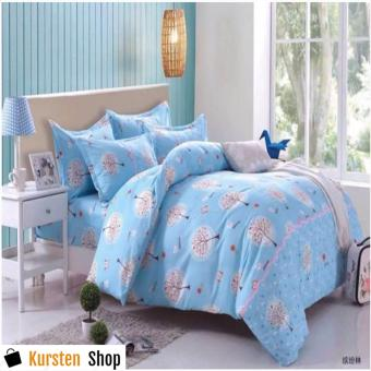 StevenShop 4in1 Bedsheet POLY COTTON LightBlue Design(2 pcs pillow case , 1pcs fitted and 1pcs bedsheet)QUEEN