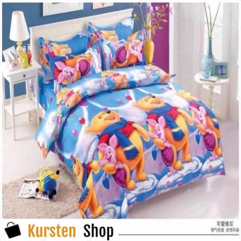 StevenShop 4in1 Bedsheet POLY COTTON POOH & PIGLET Design(2 pcs pillow case , 1pcs fitted and 1pcs bedsheet)QUEEN