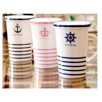 Stripes Feelings Mug with Cover Milk Cup Porcelain Coffee Mug withLid Cover 400ml - 4