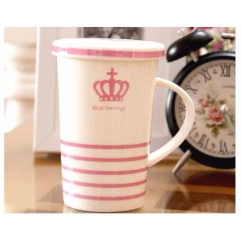 Stripes Feelings Mug with Cover Milk Cup Porcelain Coffee Mug withLid Cover 400ml - 2