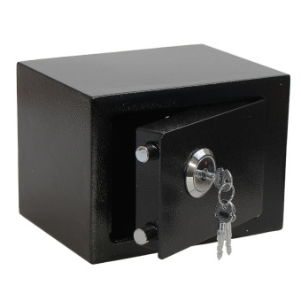 Strong Iron Steel Key Operated Security Money Cash Safe Box W/ Key Home Office - 4