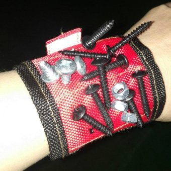 Strong Magnetic Wristband Wrist Support Bands For Screws Nails NutsHolder color:red - intl