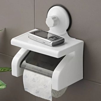 Suction Wall Mounted Roll Paper Stand Toilet Bath Tissue Box HolderCover