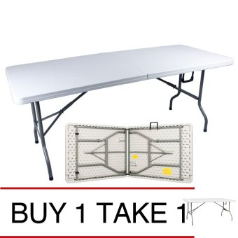 Sumo ST-7230SLM Fold in Half top Slim Rectangular Folding PlasticTable (White) BUY 1 TAKE 1