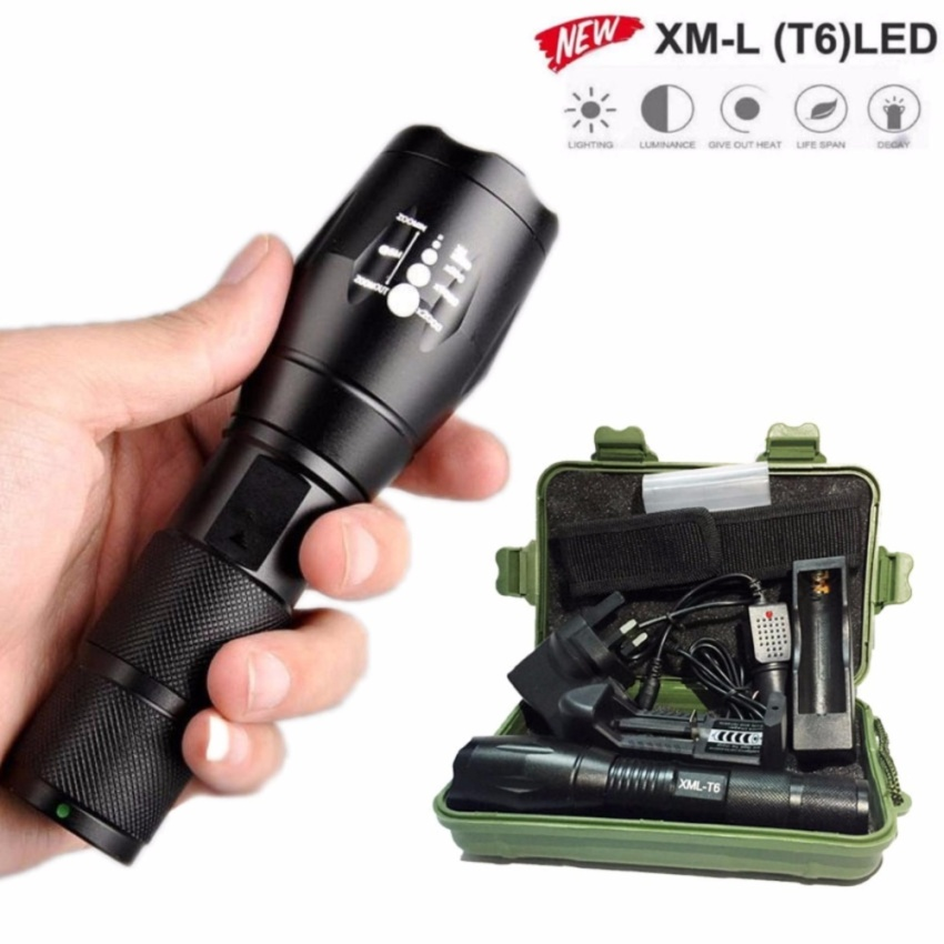 Super bright 6000lm Tactical Flashlight LED Zoom Military Torch Black - intl