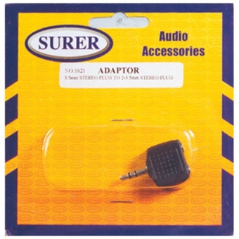Surer 1621 Adaptor 3.5mm Stereo Plug to 2-3.5mm Stereo Plug