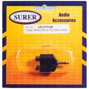 Surer 1622 Adaptor 3.5mm Mono Plug to 2-RCA Jack